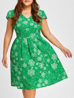 Christmas Snowflake Vintage V Neck Plus Size Dress - Green 2xl
