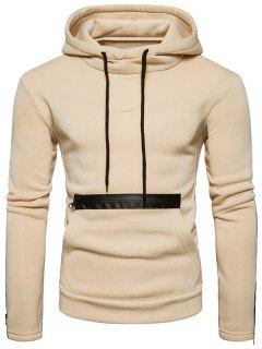 Edging Zipper Fleece Pullover Hoodie - Beige L