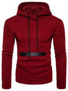 Edging Zipper Fleece Pullover Hoodie - Red Xl