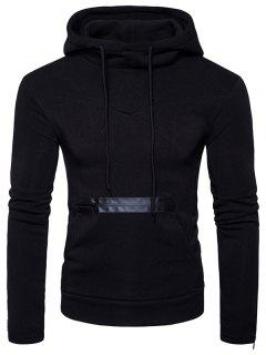 Edging Zipper Fleece Pullover Hoodie - Black S