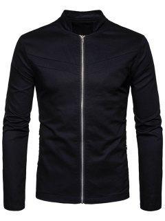 Stand Collar Zipper Pockets Zip Up Jacket - Black S