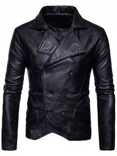Double Breasted PU Leather Jacket - Black S