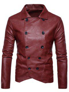 Double Breasted PU Leather Jacket - Red Xl