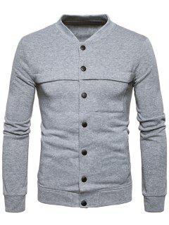 Stand Collar Button Up Panel Fleece Jacket - Light Gray S