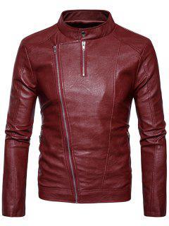 Stand Collar Oblique Zipper PU Chaqueta De Cuero - Rojo L