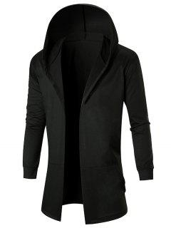 Stretch Long Hooded Open Front Coat - Black 2xl