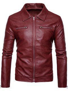Turndown Collar Faux Leather Zip Up Jacket - Rojo 2xl