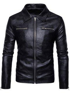 Turndown Collar Faux Leather Zip Up Jacket - Black L