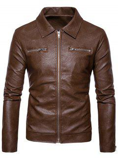 Turndown Collar Faux Leather Zip Up Jacket - Khaki M