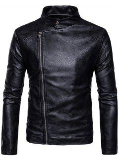 Stand Collar Panel Design Faux Leather Zip Up Jacket - Black Xl
