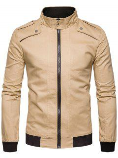 Epaulet Design Rib Panel Zip Up Jacket - Khaki 2xl