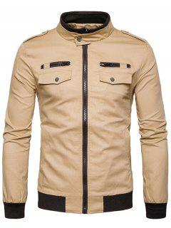 Rib Stand Collar Epaulet Zip Up Cargo Jacket - Khaki M