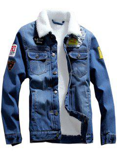 Patch Design Flocking Denim Jacket - Deep Blue L