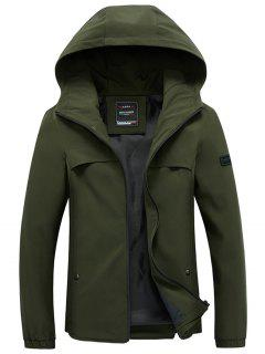 Slim Zip Front Hooded Jacket - Green L