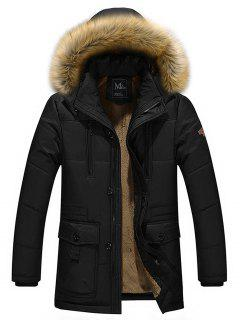 Artificial Fur Hooded Parka Jacket - Black 2xl