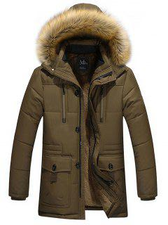 Artificial Fur Hooded Parka Jacket - Brown 5xl
