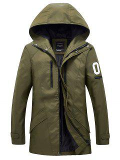 Casual Slim Fit Sleeve Pocket Hooded Jacket - Green Xl