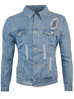 Double Chest Pocket Ripped Denim Jacket - Light Blue 5xl