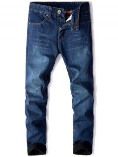 Zipper Fly Straight Leg Flocking Jeans - Blue 32