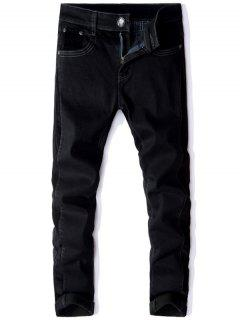 Straight Leg Corduroy Panel Elastic Flocking Jeans - Black 30