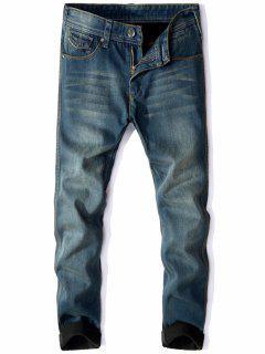 Zip Fly Flocking Thermal Denim Pants - Blue 40