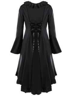 Plus Size Back Criss Cross Lace Panel Flounce High Low  Dress - Black 5xl