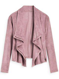 Zip Up Cropped Faux Suede Jacket - Pink S