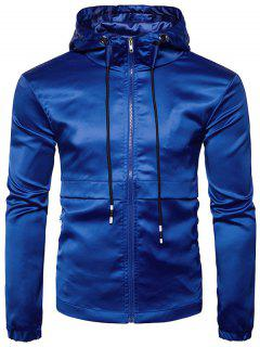 Hooded Panel Design Zip Up Windbreaker Jacket - Blue Xl