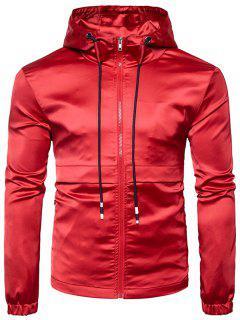 Hooded Panel Design Zip Up Windbreaker Jacket - Red Xl