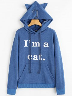 Front Pocket Letter Graphic Cat Hoodie - Blue M