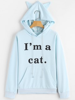 Front Pocket Letter Graphic Cat Hoodie - Light Blue M