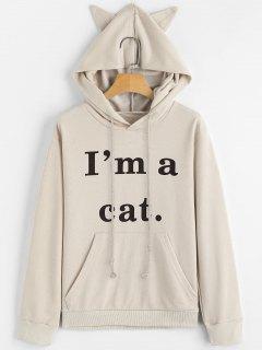 Vordere Taschen-Buchstabe-Grafik-Katze Hoodie - Aprikose Xl