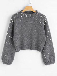 Faux Pearl Mock Neck Pullover - Grau L