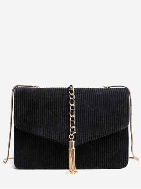 latest Tassel Chain Suede Crossbody Bag - BLACK  Mobile