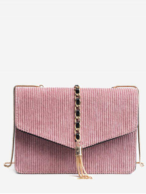 fancy Tassel Chain Suede Crossbody Bag - PINK  Mobile