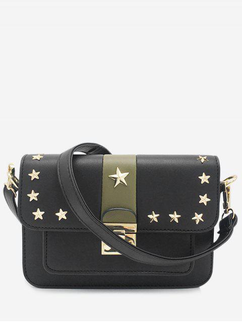 Bolso bandolera con rayas y estrellas Rivets - Negro Horizontal Mobile