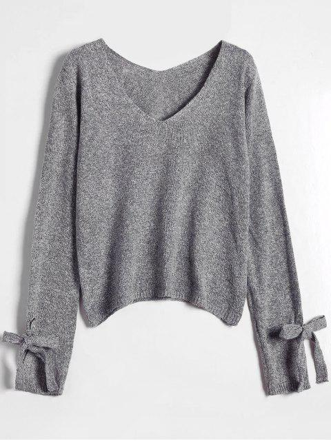 new V Neck Bow Tied Sweater - GRAY ONE SIZE Mobile