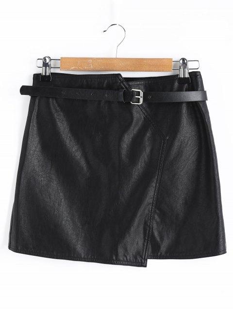 trendy Belt Mini Faux Leather Skirt - BLACK L Mobile