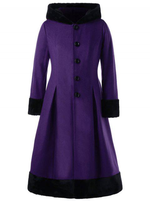 hot Plus Size Faux Fur Hooded Dress Coat - PURPLE 5XL Mobile