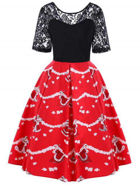 sale Christmas Lace Yoke 50s Swing Dress - BLACK AND RED L Mobile
