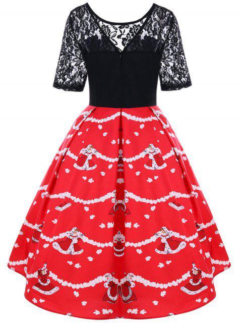 Vestido de encaje de Navidad Yoke 50s - Negro y Rojo XL Mobile