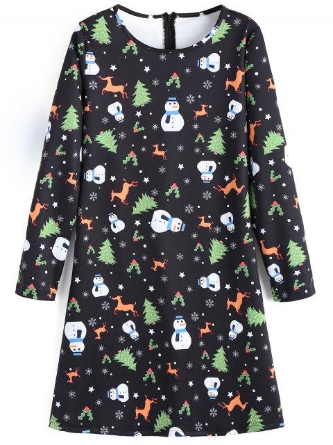 Vestido de llamarada de Navidad de los ciervos de muñeco de nieve - Negro S Mobile