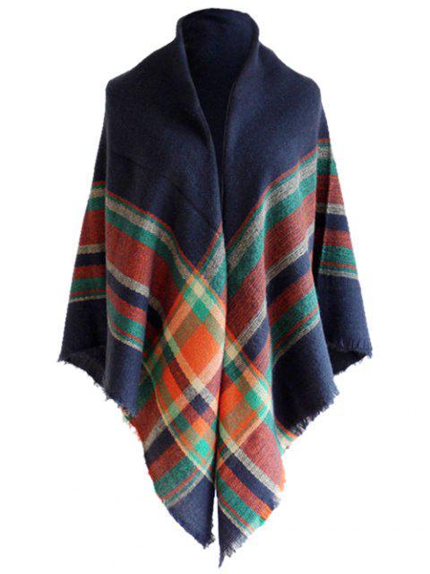 Bufanda de chal de lana de imitación de patrón de tartán vintage - Azul Marino   Mobile
