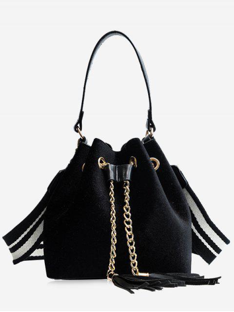 fashion Tassel String Chain Handbag - BLACK  Mobile