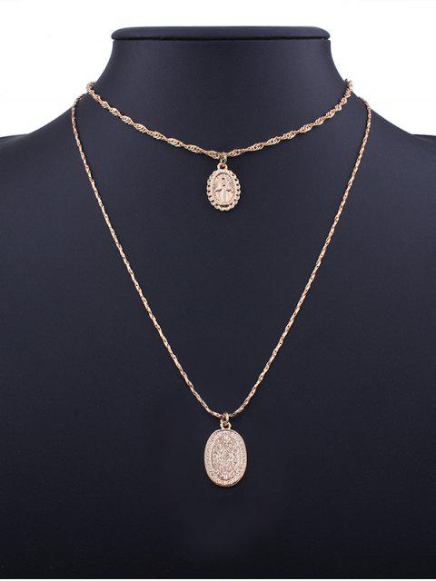 buy Alloy Engraved Goddess Oval Pendant Necklace Set - GOLDEN  Mobile