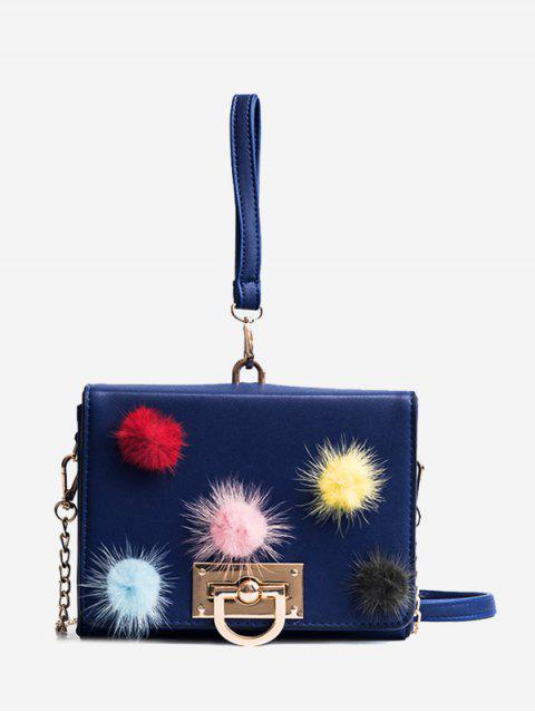 womens Pompoms Multi Colors Handbag - BLUE  Mobile
