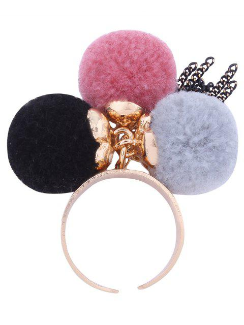 women Charm Fuzzy Ball Fringed Cuff Ring - PINK  Mobile