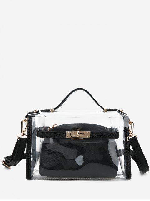Ensemble de sac à bandoulière transparent 2 pièces - Noir  Mobile