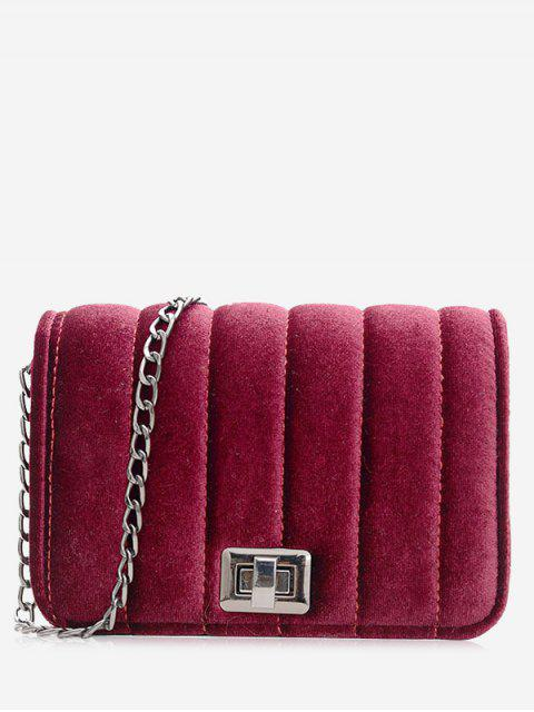 chic Chain Striped Hasp Crossbody Bag - RED  Mobile