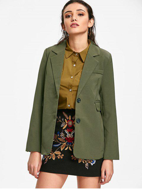 womens Lapel Single Breasted Blazer - ARMY GREEN M Mobile